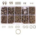 Pandahall elite 1 caja alrededor de 1585 piezas conjuntos de búsqueda de joyas, con los anillos del salto de hierro, Cierres de pinza de langosta de latón, extremos abatibles de aleación con cadenas giratorias y anillo de hebilla auxiliar de latón, color de bronce antiguo