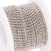 Cadenas de strass Diamante de imitación de bronce, cadenas de la taza del Rhinestone, con carrete, color plateado, cristal, 2mm, aproximamente 10 yardas / rodillo