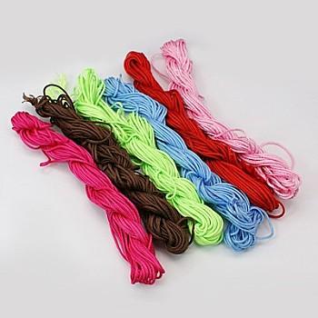 ナイロン糸, 作るカスタム織りブレスレットのためのナイロン製のアクセサリーコード, ミックスカラー, 2mm;約12m /束, 10のバンドル/袋, 120 M /袋