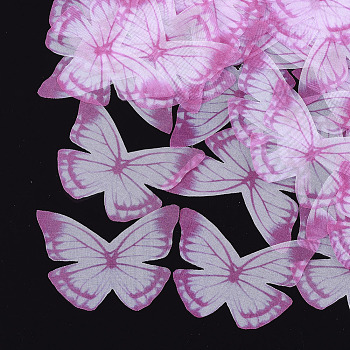 Organza Fabric, For DIY Jewelry Making Crafts, Butterfly, Camellia, 43x55mm