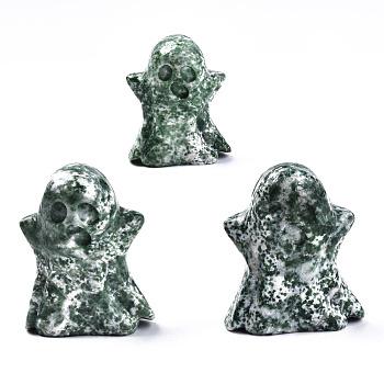 Украшения для дисплея из натуральной зеленой яшмы, для Хэллоуина, призрак, 44~46.5x36.5~40.5x19~21.5 мм