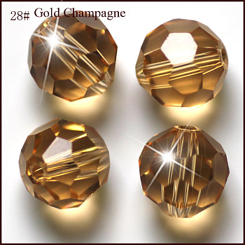 Dark Goldenrod Imitation Austrian Crystal Beads, Grade AAA, Faceted, Round, Dark Goldenrod, 4mm, Hole: 0.7~0.9mm