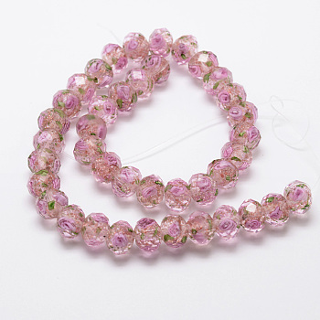PearlPink Handmade Gold Sand Lampwork Rondelle Beads Strands, Faceted, PearlPink, 10x7mm, Hole: 2mm; about 50pcs/strand, 13.77""