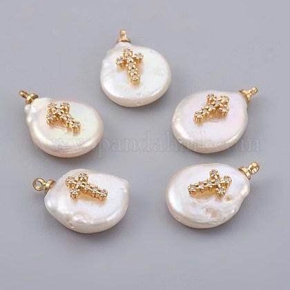Colgantes naturales de perlas cultivadas de agua dulcePEAR-F008-19G-1