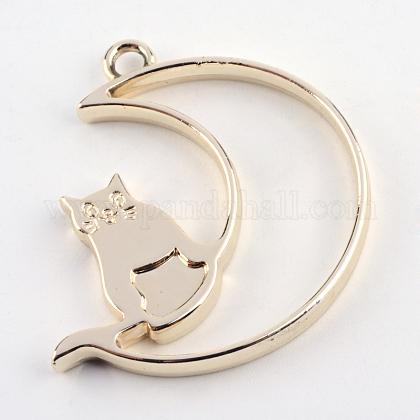 ラックメッキ合金子猫オープンバックベゼルペンダントPALLOY-S047-38E-FF-1