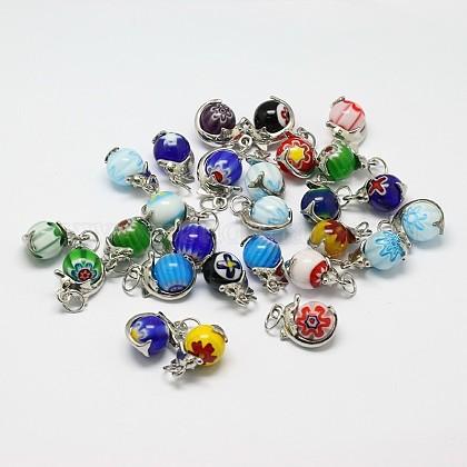 Colgantes de cristal hechos a mano millefiori redondas mixtosLAMP-A147-08-1