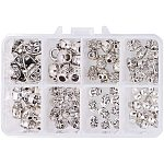 PandaHall 80 Pcs Tibetan Alloy Skull Spacer Beads 8 Styles for Jewelry Making Antique Silver