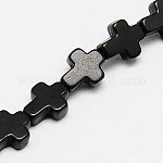 1 Strand Dyed Black Synthetic Turquoise Cross Beads Strands, 10x8x3mm, Hole: 1mm; about 38pcs/strand, 15inches