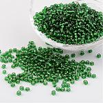 8/0 Glass Seed Beads, Silver Lined Round Hole, Round, Green, 3mm, Hole: 1mm; about 1097pcs/50g