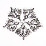 Antique Silver Tibetan Style Rhombus Chandelier Component Links for Dangle Earring Making, Lead Free and Cadmium Free and Nickel Free, 36x30x2mm, Hole: 1.5mm