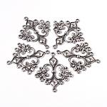 Enlaces estilo tibetano plata componentes araña rombo antiguos para la toma colgante el pendiente, sin plomo y el cadmio y níquel, 36x30x2mm, agujero: 1.5 mm