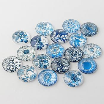 Bleu et blanc imprimé floral cabochons de verre, demi-rond / dôme, bleu acier, 16x5mm