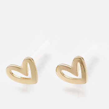 Brass Stud Earrings, Real 18K Gold Plated, with Raw(Unplated) Silver Pins and Plastic Protector, Heart, 7.5x9mm; Pin: 0.7mm