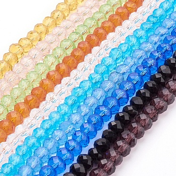 Mixed Color Handmade Glass Beads, Faceted Rondelle, Mixed Color, 6x4mm, Hole: 1mm; about 90~93pcs/strand