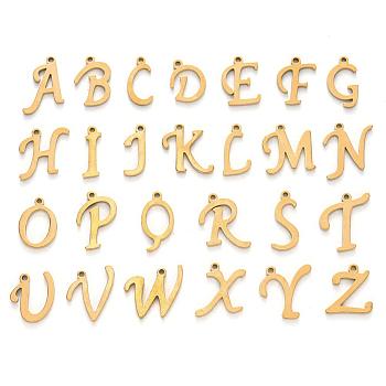 304 Edelstahl Anhänger / charms, Alphabet, Laserschnitt, golden, Buchstabe a ~ z, 10~14.5x4~14x1 mm, Loch: 1mm; 26pcs / set.