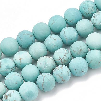 Abalorios de la turquesa verde natural hebrasX-G-T106-185-1