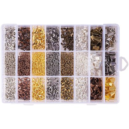 PandaHall About 2580 Pcs Jewelry Finding Kits - Fold Over Cord EndsFIND-PH0007-01-1