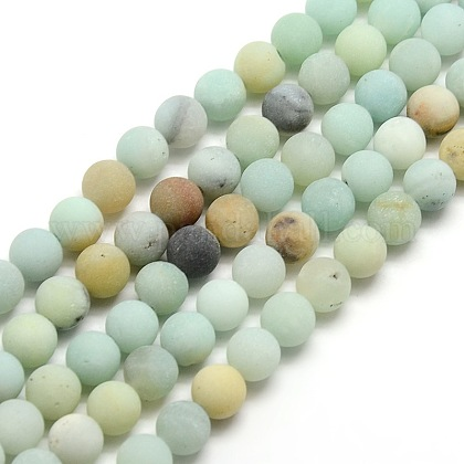 Frosted Natural Amazonite Round Bead StrandsG-M064-8mm-07-1