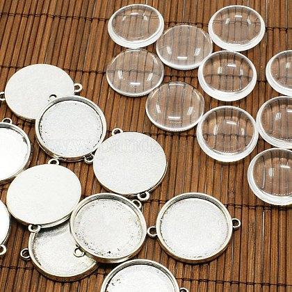 Couvercle transparent transparent 25mm bombé cabochon de verre pour connecteur photo priseTIBE-X0006-FF-1