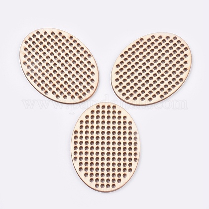 木製針クロスステッチ刺繍ブランクディスクWOOD-L006-23-1