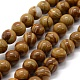 Natural Wood Lace Stone Beads Strands, Round, 8mm, Hole: 0.8mm; about 47pcs/strand, 14.9''(38cm)