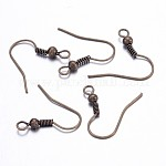 Brass Earring Hooks, Ear Wire, with Beads, Antique Bronze, 19mm, Hole: 1.5mm; Pin: 0.7mm