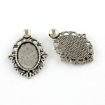 Tibetan Style Zinc Alloy Pendant Cabochons Settings, Lead Free & Cadmium Free, Oval, Antique Silver, Tray: 18x13mm; 32.7x14x2mm, Hole: 3.5mm; about 303pcs/1000g