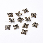 Tibetan Style Bead Caps, Zinc Alloy Bead Caps, Lead Free, Cadmium Free and Nickel Free, Antique Bronze, 8mm in diameter, 2.5mm thick, hole: 1mm