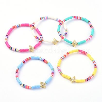 Handmade Polymer Clay Heishi Bead Stretch BraceletsBJEW-JB05078-1