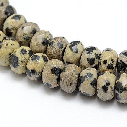 Dalmatien naturel à facettes jaspe rondelle perles brinsG-K090-03-1