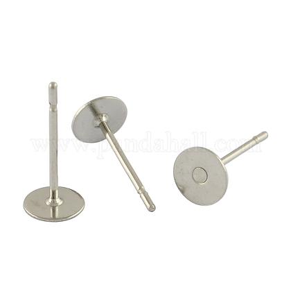 304 pieza redonda de acero inoxidable clavija en blanco clavija pendiente forniturasSTAS-S028-37-1