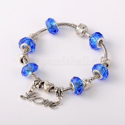 Palabra amor joyería latón pulseras de estilo europeo para el día de san valentínBJEW-JB01643-03-1