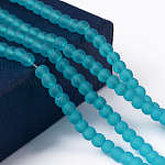 Transparent Glass Bead Strands, Frosted, Round, DarkTurquoise, 4mm, Hole: 1.1~1.6mm; about 200pcs/strand, 31.4