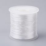 Japanese Flat Elastic Crystal String, Elastic Beading Thread, for Stretch Bracelet Making, White, 0.5mm; about 300m/roll
