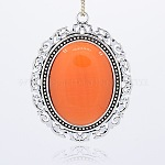 Antique Silver Plated Alloy Cat Eye Oval Big Pendants, DarkOrange, 63x48x7mm, Hole: 3mm