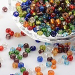 6/0 Glass Seed Beads, Silver Lined Round Hole, Round, Mixed Color, 4mm, Hole: 1.5mm; about 4500 beads/pound