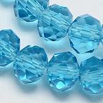 Perles en verre manuelles, facettes rondelle, turquoise, 6x4mm, trou: 1mm; environ 90~93 pcs/chapelet