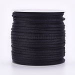 Nylon Thread, Rattail Satin Cord, Black, 1mm; about 80m/roll