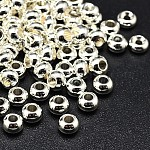 Environmental Brass Flat Round Spacer Beads, Lead Free & Cadmium Free & Nickel Free, Silver Color Plated, 6x4mm, Hole: 2mm