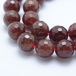 Natural Strawberry Quartz Bead Strands, Faceted, Round, 12mm, Hole: 1mm; about 31pcs/strand, 15.15''