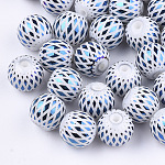Electroplate Glass Beads, Round with Rhombus Pattern, Blue, 8~8.5mm, Hole: 1.5mm
