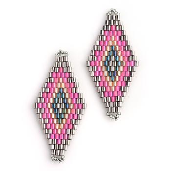 Cuentas de semillas japonesas miyuki & toho, Enlaces hechos a mano, patrón telar rombo, color de rosa caliente, 42.5~44x19~20x1.5~2mm, agujero: 1~2 mm