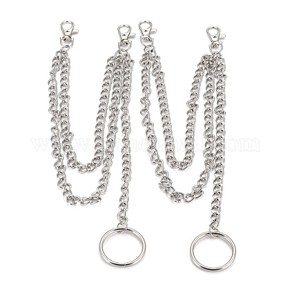 Alloy Pocket Chain, Swivel Clasps Key Rings, Belt Loop, Purse Handbag Strap, Keys, Wallet, Platinum, 15.15~15.4 inches(38.5~39.3cm) AJEW-O029-05