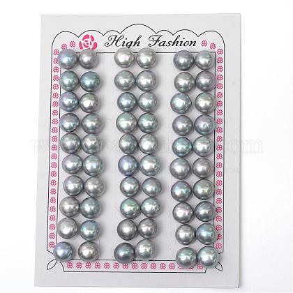 Cuentas redondas planas naturales de perlas cultivadas de agua dulcePEAR-R015-48-1