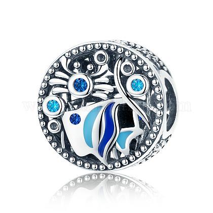 Hueco 925 perlas de estilo europeo del zirconia cúbico del esmalte de la plata esterlinaSTER-FF0006-05AS-1