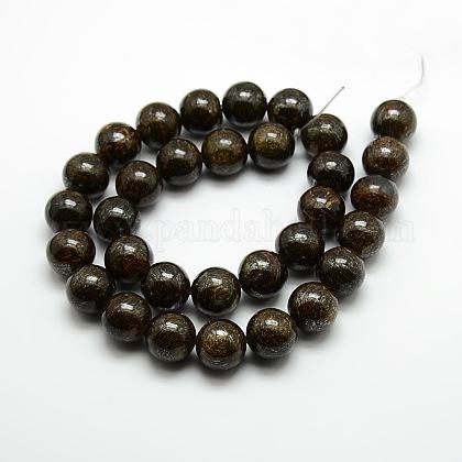 Round Natural Bronzite Beads StrandsG-P059B-01-1