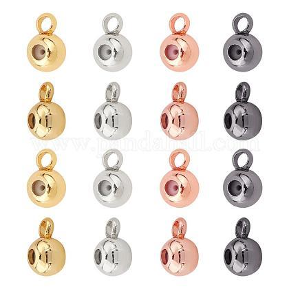 Superfindings 40 pièces 4 couleurs sous caution perles pour chaînes européennes 7x5x3.5 mm sous caution perles positionnement bouchon cintre lien connecteur pour bracelet collier fabrication de bijouxKK-FH0001-50-1