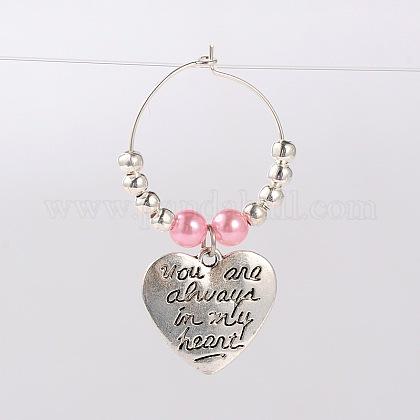 Tibetan Style Heart with Word You Are Always In My Heart Wine Glass CharmsAJEW-JO00028-04-1