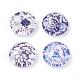Azul y blanco florales impresos cabuchones de vidrioGGLA-A002-12mm-XX-3