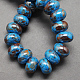 Handmade Porcelain European Beads, Large Hole Beads, Pearlized, Rondelle, DodgerBlue, 12x9mm, Hole: 4mm